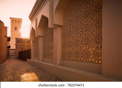 Dubai, United Arab Emirates - May 25, 2017: Close up on the Bastakia Quarter architecture in Bur Dubai. The construction of Al Fahidi Historical Neighbourhood dates back to the 1890s.