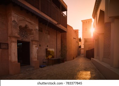 Dubai, United Arab Emirates - May 25, 2017: Out focus on the Bastakia Quarter architecture in Bur Dubai. The construction of Al Fahidi Historical Neighbourhood dates back to the 1890s.