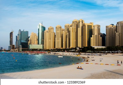 Dubai, United Arab Emirates - November 16, 2018: Panoramic view of JBR, Jumeirah Beach Residence popular travel spot in Dubai a complex of beachfront hotels and residential buildings