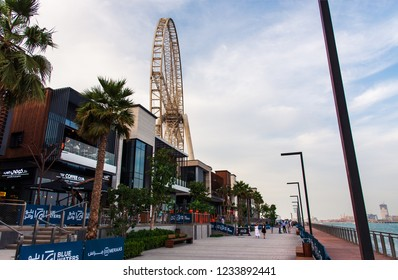 Dubai, United Arab Emirates - November 16, 2018: Bluewaters island promenade at sunset, new walking area with shopping mall and restaurants, newly opened leisure and travel spot in Dubai