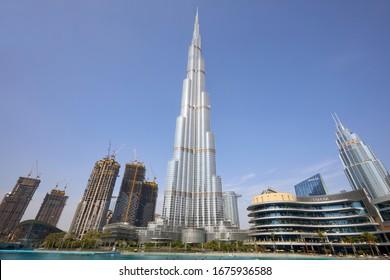 DUBAI, UNITED ARAB EMIRATES - NOVEMBER 19, 2019: Burj Khalifa skyscraper and Dubai Mall in a clear sunny day