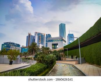 Dubai, United Arab Emirates - November 13, 2020: Dubai International Financial Centre DIFC in the downtown Dubai in the United Arab Emirates