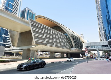 DUBAI, UNITED ARAB EMIRATES - Oct 8, 2016:View of the Metro line at Sheikh Zayed Road in Dubai.