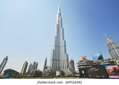DUBAI, UNITED ARAB EMIRATES - Oct 7, 2016: Downtown Dubai with the Burj Khalifa tower. This skyscraper is the tallest man-made structure in the world, measuring 828 m. Completed in 2009.