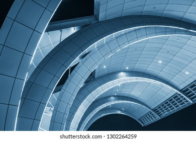 Dubai, United Arab Emirates - October 14, 2018: Modern Dubai Airport Architecture