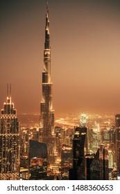 Dubai, United Arab Emirates - October 13, 2018: Dubai skyline with Burj Khalifa. Burj Khalifa is the tallest skyscraper in the world place in the city center of Dubai.