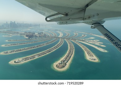 Dubai, United Arab Emirates - October 17, 2014: Aerial view of the artificial island Palm Jumeirah from a seaplane.