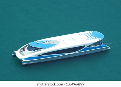 Dubai, United Arab Emirates, picture dated 5th of May 2018. Aerial view of a modern ferry of Dubai water public transportation connecting several districts like Business Bay and Marina.