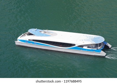 Dubai, United Arab Emirates, picture dated 5th of October 2018. Aerial view of a modern ferry of Dubai water public transportation connecting at very cheap price several districts like Business Bay.