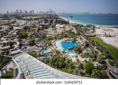 DUBAI, UNITED ARAB EMIRATES - SEPTEMBER 7, 2015: Aerial view of Wild Wadi Waterpark. Situated in front of stunning Burj Al Arab, Wild Wadi offers 30 rides and attractions for all the family.