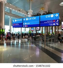 Dubai, United Arab Emirates - September 15, 2019: Passengers boarding a flight in the Dubai airport.