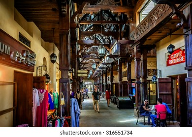 DUBAI, UNITED ARAB EMIRATES - SEPTEMBER 10, 2015: Madinat Souk at Madinat Jumeirah Hotel. Traditional Arabian souk is a shopping paradise located in one of Jumeirah Group's flagship resorts. Stores.