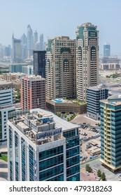 DUBAI, UNITED ARAB EMIRATES - SEPTEMBER 8, 2015: View on modern skyscrapers in Dubai city.
