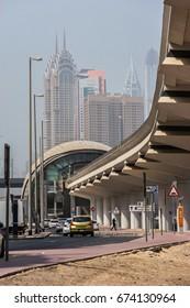 DUBAI, UNITED ARAB EMIRATES - SEPTEMBER 8, 2015: View on modern buildings in Dubai city. Dubai was beset by a dust storm.