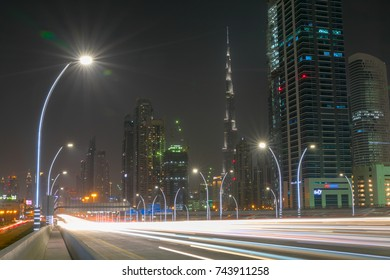 Dubai, United Arab Emirates - Tuesday, October 24, 2017 - Long exposure cityscape at night