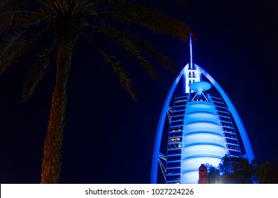 DUBAI, UNITED ARAB EMIRATES, UAE - JANUARY 19, 2018. Dubai. Burj Al Arab at the night, Luxury 7 Stars Hotel Beautiful Building