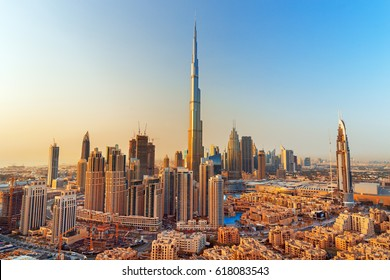 DUBAI ,UNITED ARAB EMIRATES-FEBRUARY 18, 2017: Beautiful Dubai downtown after sunset,Dubai,United Arab Emirates