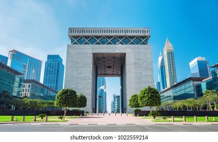 DUBAI ,UNITED ARAB EMIRATES-FEBRUARY 27, 2017: Dubai Financial center district DIFC,United Arab Emirates