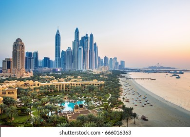DUBAI ,UNITED ARAB EMIRATES-FEBRUARY 28, 2017: Amazing rooftop view on Dubai Marina skyline and Jumeirah beach, Dubai,United Arab Emirates