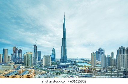 DUBAI ,UNITED ARAB EMIRATES-FEBRUATY 18, 2017: Dubai downtown with modern skyscrapers,Dubai,United Arab Emirates