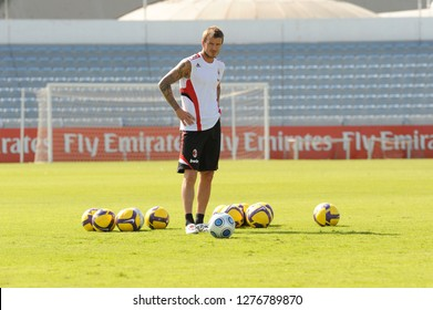 DUBAI, UNITED ARAB EMIRATES-JANUARY 06, 2008: AC Milan's english star David beckham during the AC Milan training camp, in Dubai.