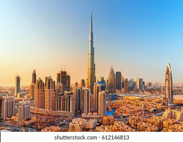DUBAI ,UNITED ARAB EMIRATES-MARCH 18, 2017:Amazing Dubai downtown view, United Arab Emirates