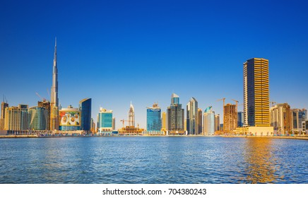DUBAI ,UNITED ARAB EMIRATES-MARCH 18, 2017:View on luxury Dubai downtown, water canal and promenade around,Dubai,United Arab Emirates