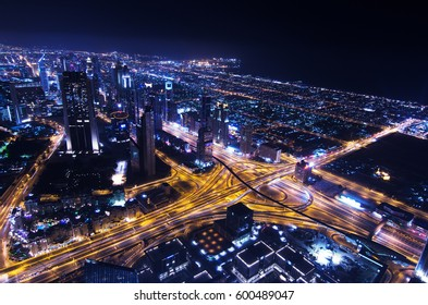 dubai, use, 05/05/2016 dubai marina city lights lit up at night with famous landmark buildings
