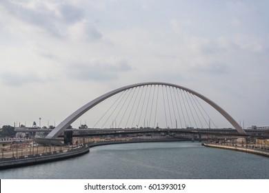 Dubai Water Canal pedestrian arch bridge, UAE