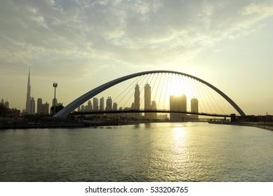 Dubai Water Canal in Sunrise