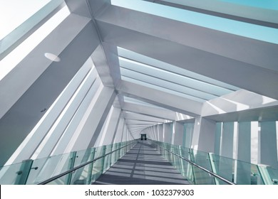 Dubai Water Canal, Dubai, United Arab Emirates - Jan.26, 2018: Interior of the Amazing Bridge - Spiral. Perspective