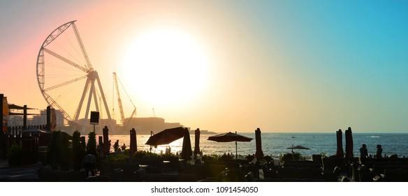 Dubai wheel at sunset