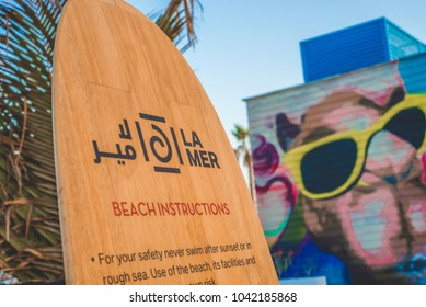 Dubai,Dubai / United Arab Emirates - 9 March 2018: La Mer Beach Resort in Dubai