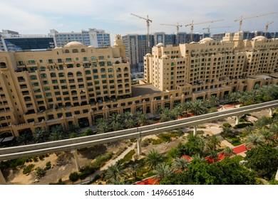 Dubai,Dubai/U.A.E - Summer 2018: View to Golden Mile Residential Complex from Shoreline Apartment