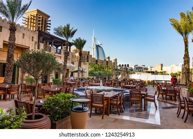 Dubai,UAE / 11. 03. 2018 : Outdoor restaurant in souk madinat jumeirah