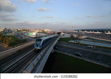 Dubai,UAE 12-27-2012. A view of transport in Dubai with  metro rail. airway  and road captured in the same photo.