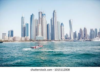 Dubai/UAE - April 13, 2014: View of Dubai from the sea side.