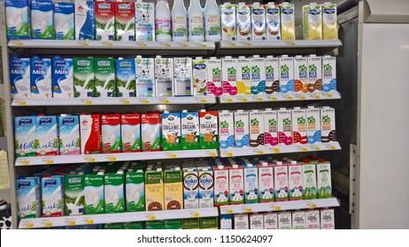 Dubai,uae - august 4,2018 : U H T processed long life organic milk in a supermarket in dubai.