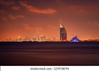 Dubai,UAE, Dec 23 2018, Burj Al Arab and Burj Khalifa in a beautiful panoramic skyline view at night