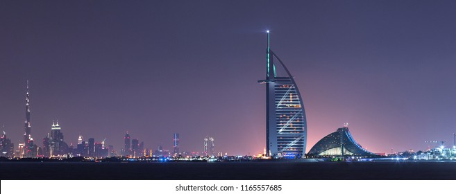 Dubai,UAE, Feb 12 2015, Burj Al Arab, and Burj Khalifa in a beautiful panoramic view at night