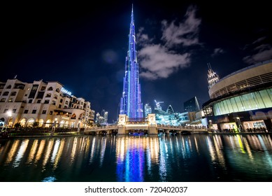 DUBAI,UAE - FEBRUARY 18,2017: Burj Khalifa skyscraper in the night,Dubai.Burj Khalifa is the tallest skyscraper in the world standing at 829.8m in Dubai
