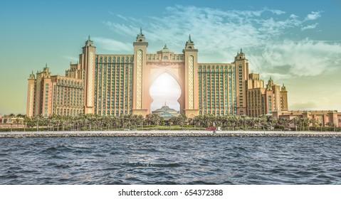 DUBAI,UAE - February 9, 2017 at 5:50 PM :Architecture modern skyscraper The Atlantis - Atlantis The palm jumeirah