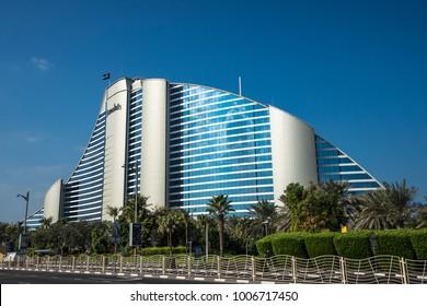 DUBAI,UAE - jANUARY 05,2018:  The Jumeirah Beach Hotel, in Jumeirah, on the coast of the Persian Gulf.