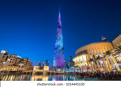 DUBAI,UAE - jANUARY 06,2018: Burj Khalifa skyscraper in the night,Dubai.Burj Khalifa is the tallest skyscraper in the world standing at 829.8m in Dubai