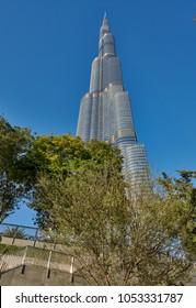 DUBAI,UAE - MARCH 20,2018:the Burj Khalifa in Dubai, the hiest skyscraper in the world