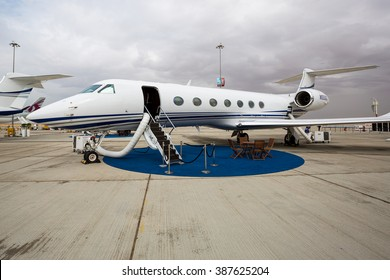DUBAI,UAE - NOVEMBER 12, 2015: Business jet Gulfstream Aerospace G500,G550 on static display at Dubai Airshow 2015. Private jet airplane. Business class travel. Private aircraft.