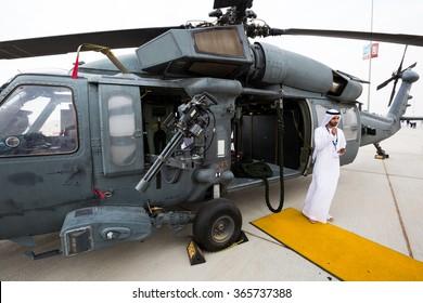 DUBAI,UAE - NOVEMBER 12: UAE Army. UAE Air Force helicopter Sikorsky UH-60M Black Hawk at Dubai Airshow 2015  on November 12, 2015 in Dubai
