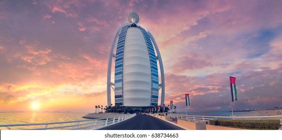 DUBAI,UAE - November 17, 2016 at 8:52 AM :Architecture modern skyscraper Burj Al Arab