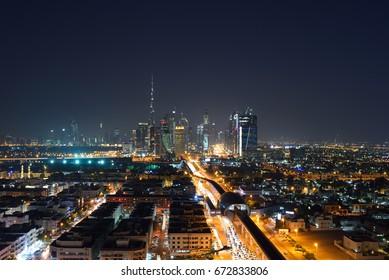 Dubai,UAE - Oct 9,2016:Urban skyline of Dubai downtown at night