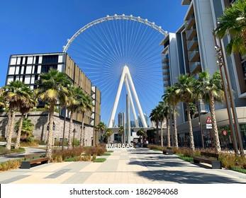 Dubai,UAE - October 16, 2020:  Beautiful view of Dubai Eye or Al Ain huge wheel on Bluewaters Island. Residential buildings with Al Ain Ferris wheel in the middle.